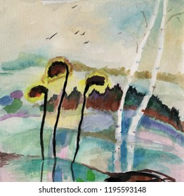 On Kandinsky's motives, spring landscape with birchs