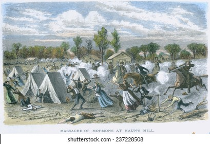 On Oct 27 1838, Missouri Governor Boggs authorizing the state militia to drive all Mormons from Missouri , 1873 book illustration with modern watercolor.