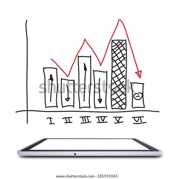 On the screen of the tablet is graph. Isolated on white background