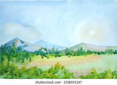 On a sheet of white paper, by hand, a drawing of a mountain landscape is made in watercolor. A pale blue sky, a blinding disk of the sun at the zenith of a summer southern day, in the distance