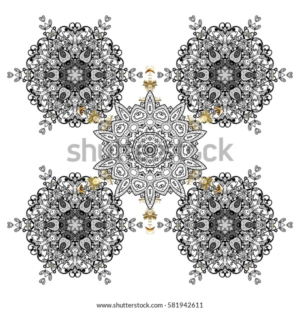 On white background for Christmas. Decorative white snowflakes pattern. Golden design with doodles and golden elements.