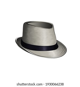 On a white isolated background beautiful and fashionable gray men's hat with black satin ribbon edging