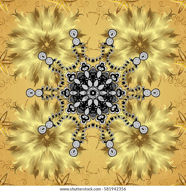 On yellow background with golden elements. Classic vintage background. Traditional orient ornament. Classic golden.