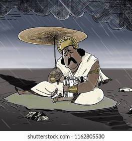 Onam is an annual Hindu festival with origins in the state of Kerala in India. It falls in the Malayalam calendar month of Chingam. Illustration of mahabali in kerala flood.
