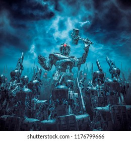 Once more unto the breach / 3D illustration of science fiction scene with robot general holding battle hammer rallying his android troops under a stormy dark sky