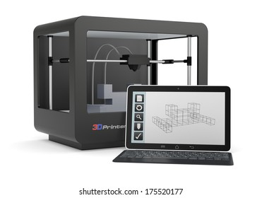 one 3d printer with a computer and a cad software (render)