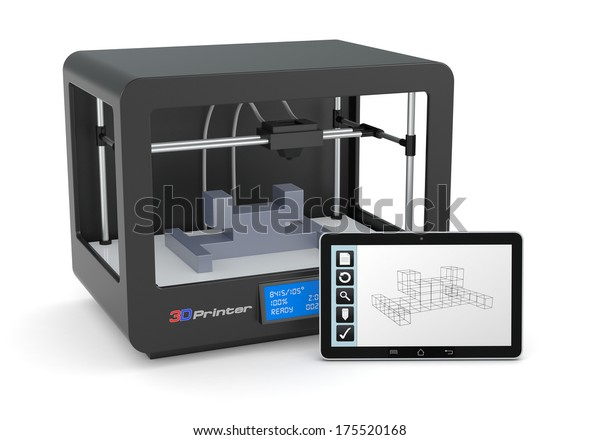 one 3d printer with a tablet pc and a cad software (render)