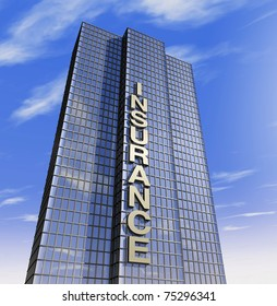 one 3d render of a skyscraper, headquarter of an insurance company