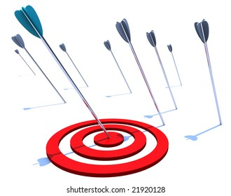One arrow hits the bulls eye while several others miss the mark