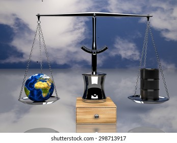 one balance with oil barrels and a earth globe, (3d render) Elements of this image furnished by NASA
