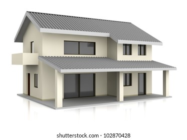 one beautiful house with two floors (3d render)