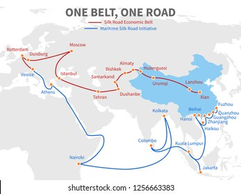 One belt - one road chinese modern silk road. Economic transport way on world map illustration