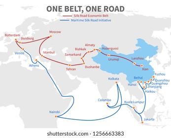 One belt - one road chinese modern silk road. Economic transport way on world map illustration