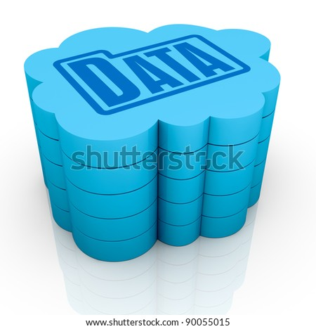 one big cloud with a folder data icon on top, concept of remote data storage (3d render)