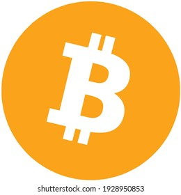 One bitcoin on white background