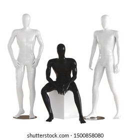 One black, faceless mannequin guy sits on a white box and two white mannequin guys stand on each side. 3D rendering