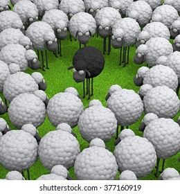 One black sheep standing out from the crowd white sheep's, leadership, difference concept