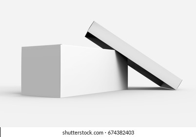 one blank paper white box with open lid leaning on it for design, 3d rendering