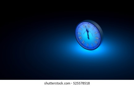 One blue circular clock. Available in high-resolution and several sizes to fit the needs of your project. Black art background layout with free text space. 3D illustration rendering.