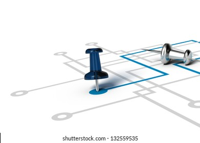 one blue line, with a thumbtack in the center of it's extremity, crossing other grey lines, illustration over white background