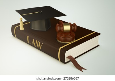 one book with a mortar board and a gavel, concept of faculty of law (3d render)