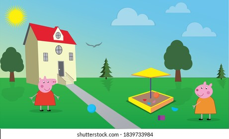 One bright day, Peppa Pig and her best friend Susie Sheep are playing in their backyard.