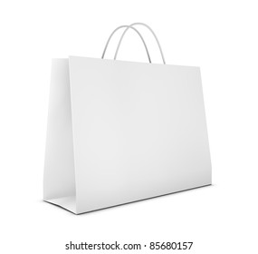 one classic white shopping bag (3d render)