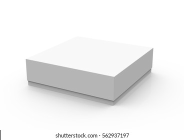 One closed blank box in 3d illustration isolated on white background