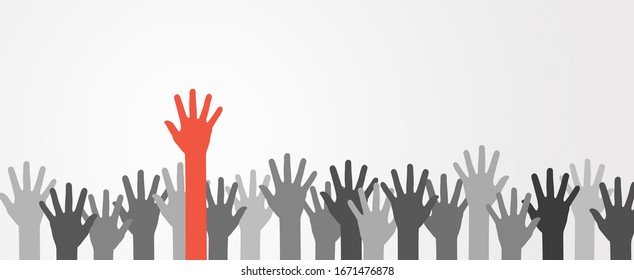 One colorful hand raised up in mass of different skin color tone of many people, Teamwork, Diversity people concept, Cultural and Ethnic diversity concept.