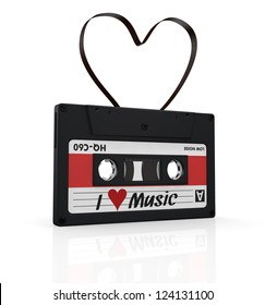 one compact cassette with a heart shape tape, concept of love for music (3d render)