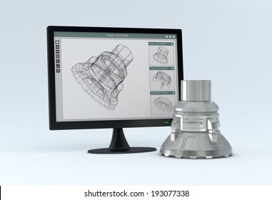 one computer monitor with a cam software and the finished product near it (3d render)