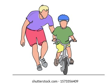 one continuous drawn line of dad teaches a child to ride a bicycle drawn by hand a picture of the silhouette. Line art. a man teaches a baby to ride a bike color illustration of character father with