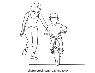 one continuous drawn line mom teaches her daughter to ride a bicycle hand-drawn picture silhouette.Line art. the character of a woman with her daughter riding a bicycle. single line