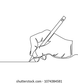 One continuous line drawing of hand drawing a line illustration