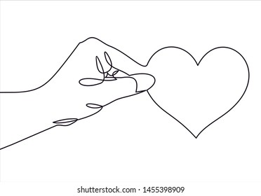 One continuous line drawing of hand holding heart. illustration