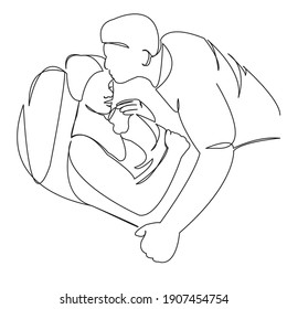 One continuous single drawing line art flat doodle parent, people, child, baby, family, newborn. Isolated image hand draw contour on a white background