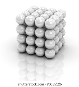 one cube formed by many spheres (3d render)