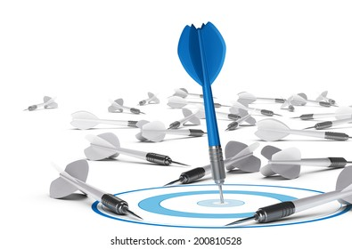 One dart hitting the center of a blue target, many grey darts on the floor symbol of failure. Concept illustration of strategic business or motivation.