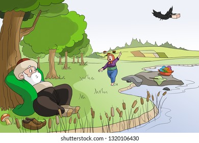 One day, Nasreddin Hodja with his wife went to the lake to do laundry. A crow came, grabbed the soap, went away.Hoca's wife screaming.Hodja said, It needs her more than we do. It's jet black.