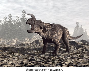 One einiosaurus dinosaur roaring in nature by cloudy day