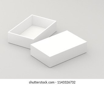 One empty  open box in 3d illustration, isolated on a light gray background, box mock up. 3d rendering