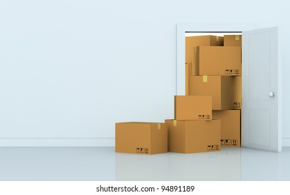 one empty room with a stack of cartons (3d render)