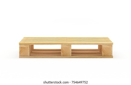 One empty wooden pallet isolated on white background. 3D illustration