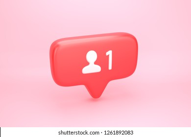 One friend request, subscriber or follower social media notification icon with user pic symbol and number 1 on counter. 3D illustration