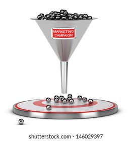 One funnel with a white and red sign and a target on the floor - Abstract schematic 3D render concept image suitable for conceptual illustration of a marketing campaign or marketing audience.