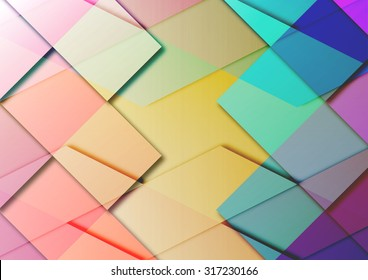 one geometric background with overlapping colored diamonds