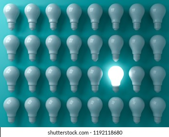One glowing light bulb standing out from the unlit or dim bulbs on dark green pastel color background individuality and think different the business creative idea concepts 3D rendering