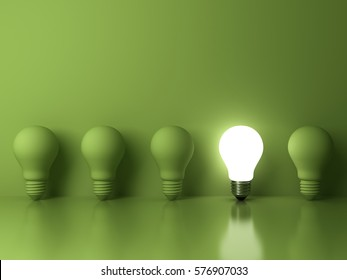 One glowing light bulb standing out from the unlit incandescent bulbs on green background with reflection , The business concept and individuality concept . 3D rendering.
