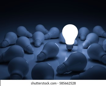 One glowing light bulb standing out from the unlit incandescent bulbs with reflection , leadership and different creative idea concept. 3D rendering.