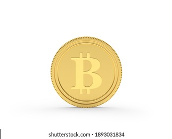 One gold bitcoin coin isolated on white background. 3D illustration